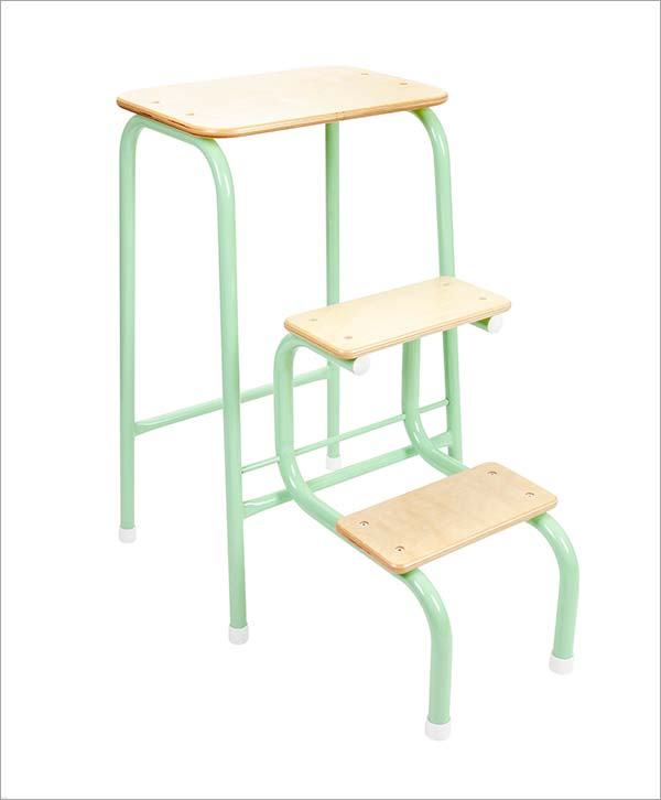 Giggy & Bab Birchwood stool in mint green