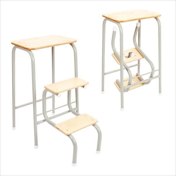Birchwood stool in pale grey